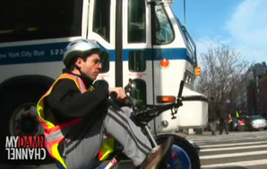 Man On Kid's Tricycle Faster Than New York City Bus