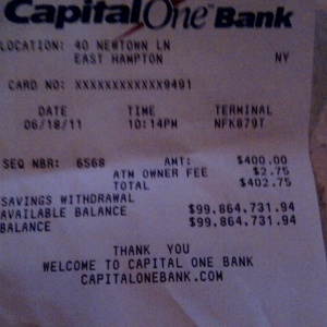 Here Is The Largest Bank Account Balance You Will Ever See On An ATM Receipt
