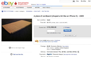 Piece Of Cardboard Shaped Like iPhone 5 Currently At Over $240,000 Bid On eBay