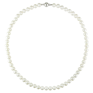 Sterling Silver 7-7.5mm Cutured Freshwater Pearl Necklace