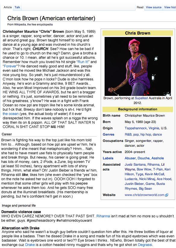Chris Brown Edits His Own Wikipedia