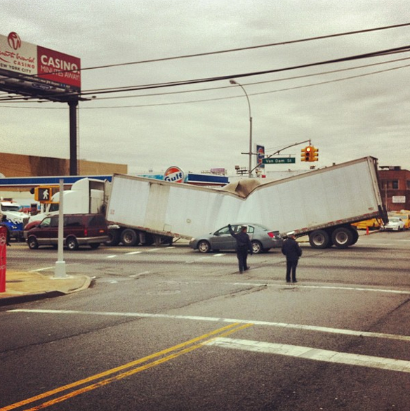 What The Hell Happened To This Semi-Truck In Queens? A Meteor?