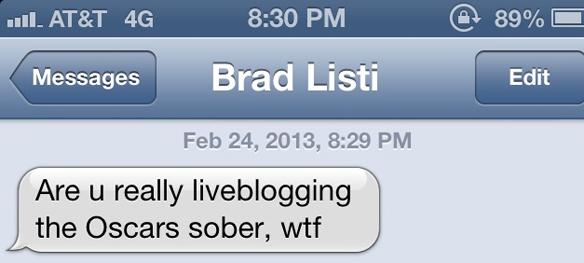 text from brad listi to mira