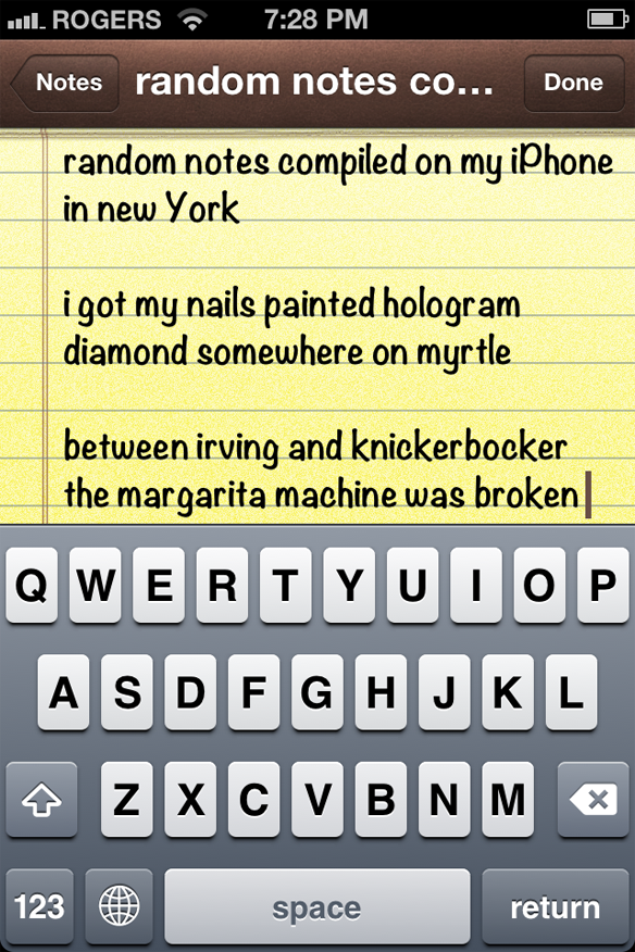 random notes compiled on my iPhone in new york