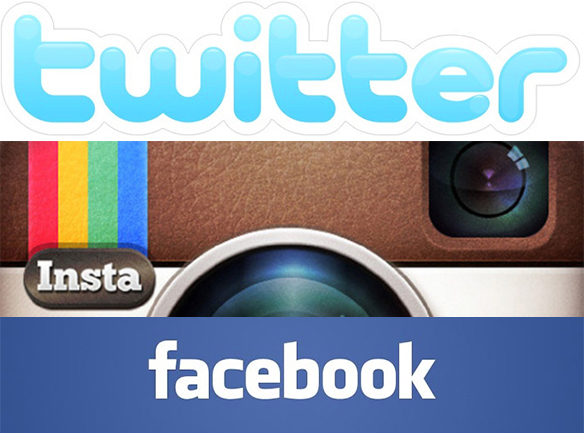 Twitter, Instagram, Facebook