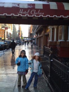 (my kids visiting me at the Chelsea Hotel)