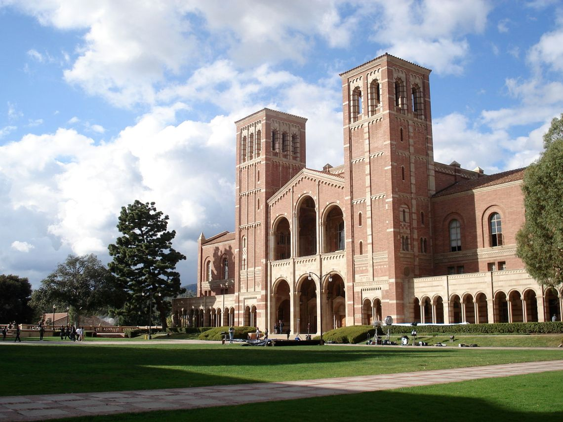 Royce Hall, UCLA's landmark building, stands in the midst of a glorious post-rain sky.