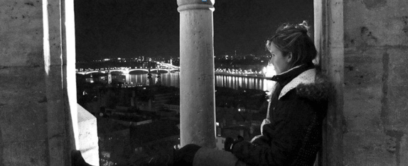 Me: Looking out at Budapest!