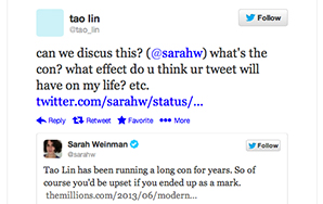 Does Tao Lin Have A Case Against Sarah Weinman For Defamation Over Her Tweet?