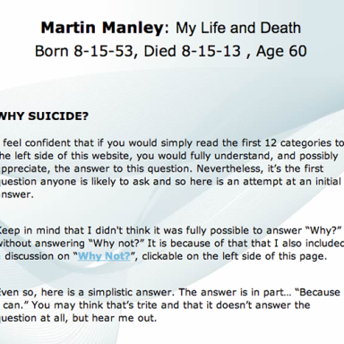 A 60-Year-Old Man Killed Himself Yesterday And Left This Incredibly Detailed Website As His Suicide Note