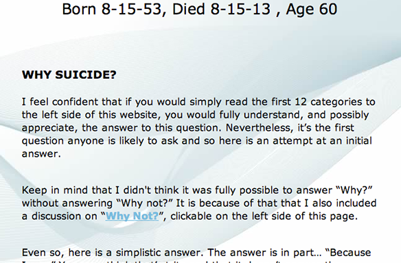 A 60-Year-Old Man Killed Himself Yesterday And Left This Incredibly Detailed Website As His SuicideNote