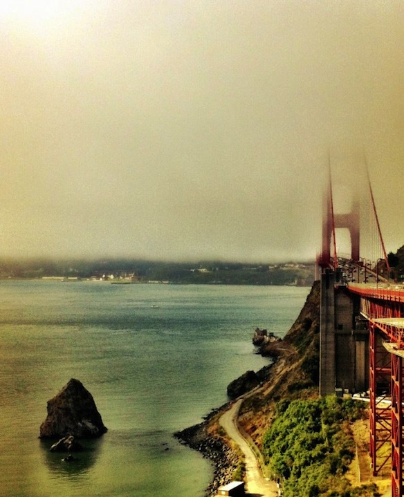 Standing on the opposite side of the Golden Gate on Friday, watching the morning fog lift over the city.