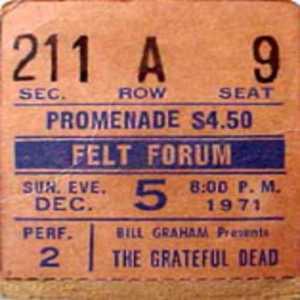 december 1971 grateful dead tix