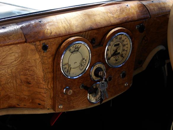 NAPA CA, Walnut dashboard of vintage Italian roadster