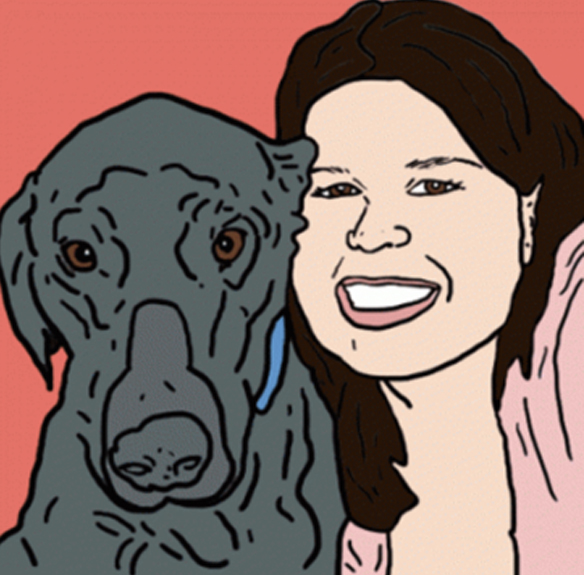 A drawing Becky Lang made of my dog and I.
