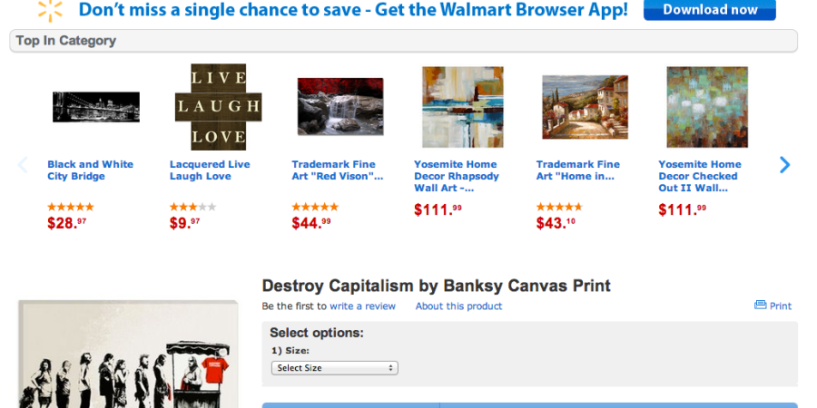 """Walmart Is Selling A Banksy Canvas Print Called """"Destroy Capitalism"""""""