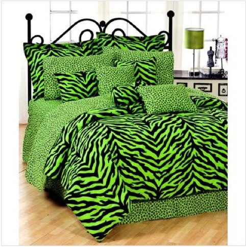 Lime Zebra Comforter Set