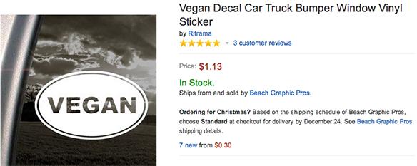Vegan Decal Car Truck Bumper Window Vinyl Sticker