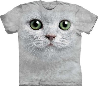 Green Eyes Cat Face The Mountain Tee Shirt Adult