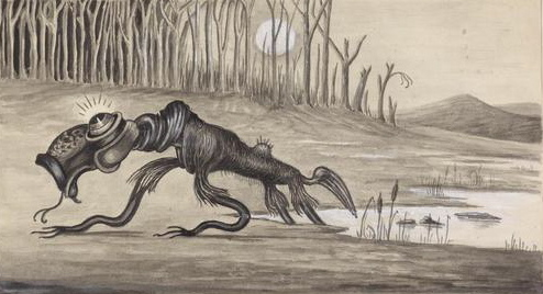 1935 painting of a Bunyip
