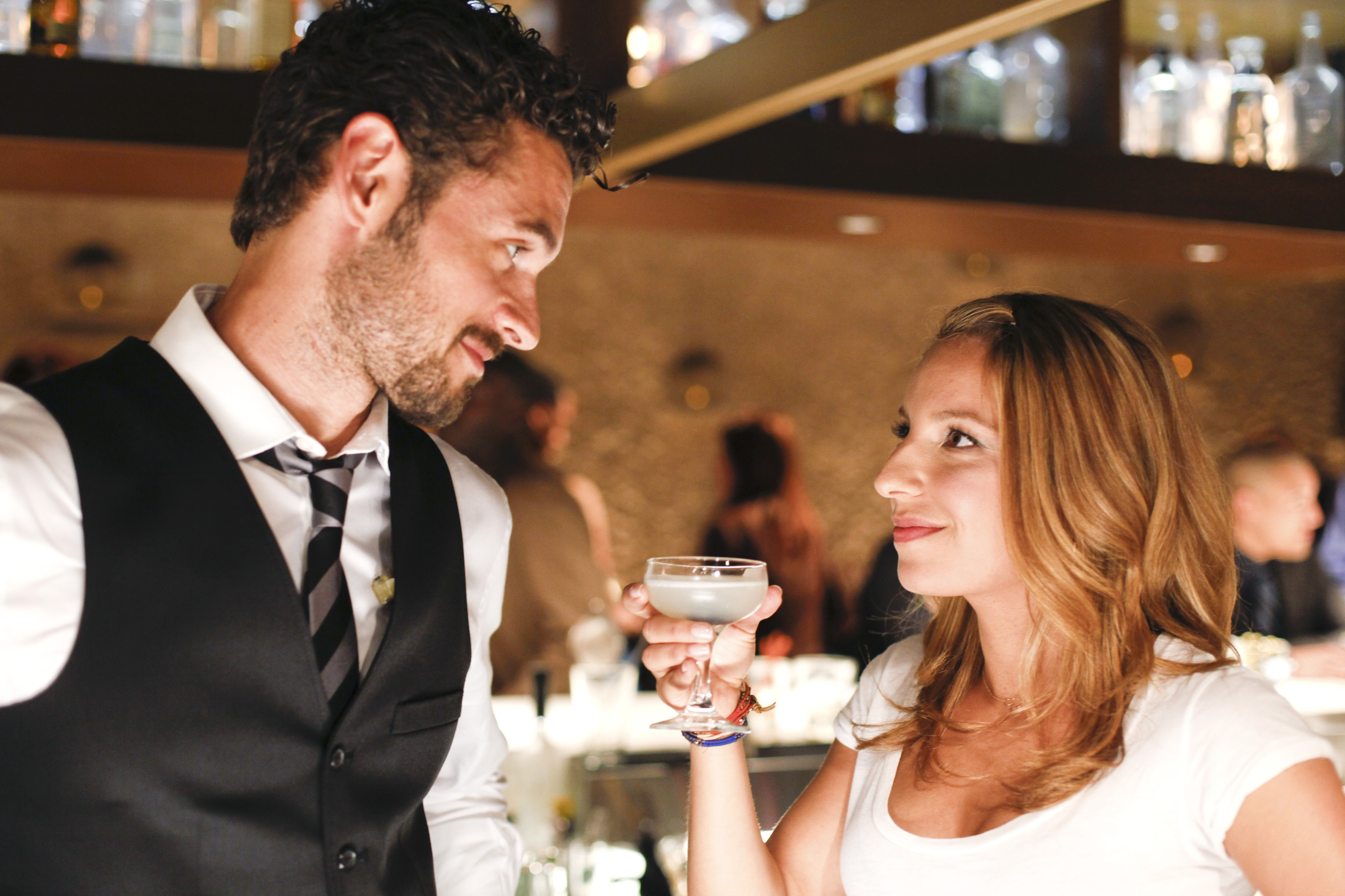 Sometimes, it's just about the right line at the right time. Dominic (Adan Canto) and Kacey (Vanessa Lengies). - Mixology.