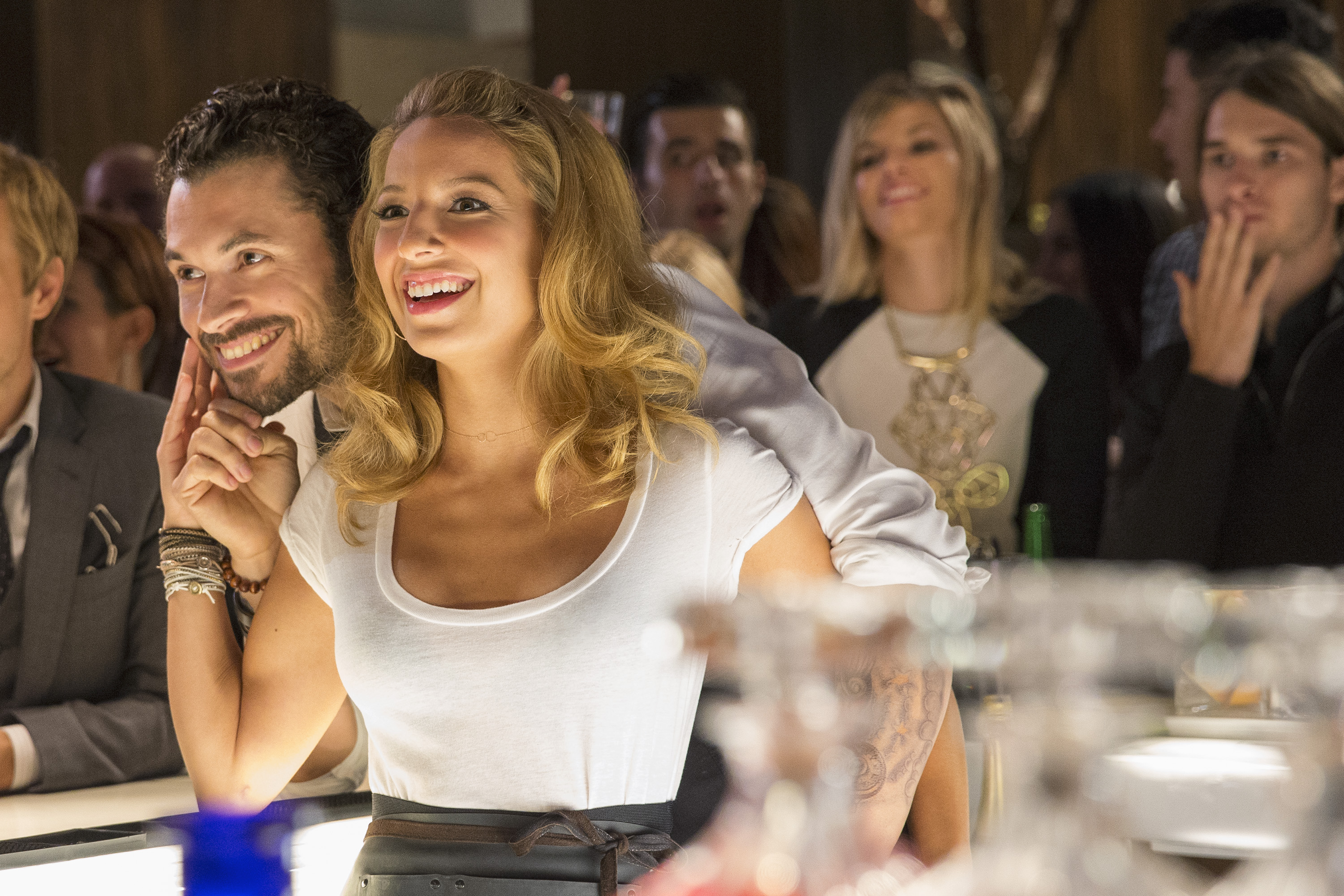 Girls can do the picking up too ;) Dominic (Adan Canto) and Kacey (Vanessa Lengies). - Mixology.