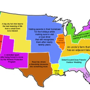 A US Map Of Romantic Comedy Settings Or Storylines Based On Location