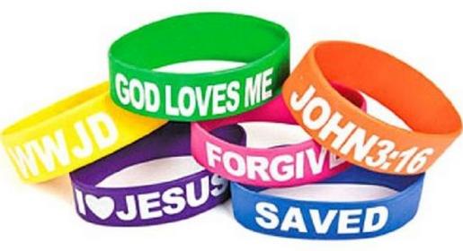Wholesale Rubber Religious Big Band Bracelets God Loves Me, I Love Jesus, Saved, Forgiven, John 3:16 and WWJD (12 Pack)