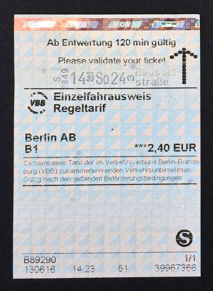 S-Bahn Train Ticket from Berlin. It has a hologram at the top to prevent counterfeiting.