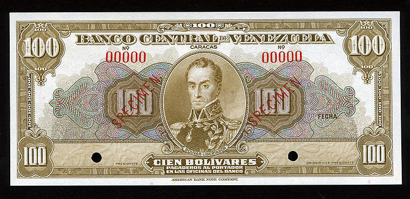 100_Venezuelan_Bolivares_banknote_of_the_1940s.