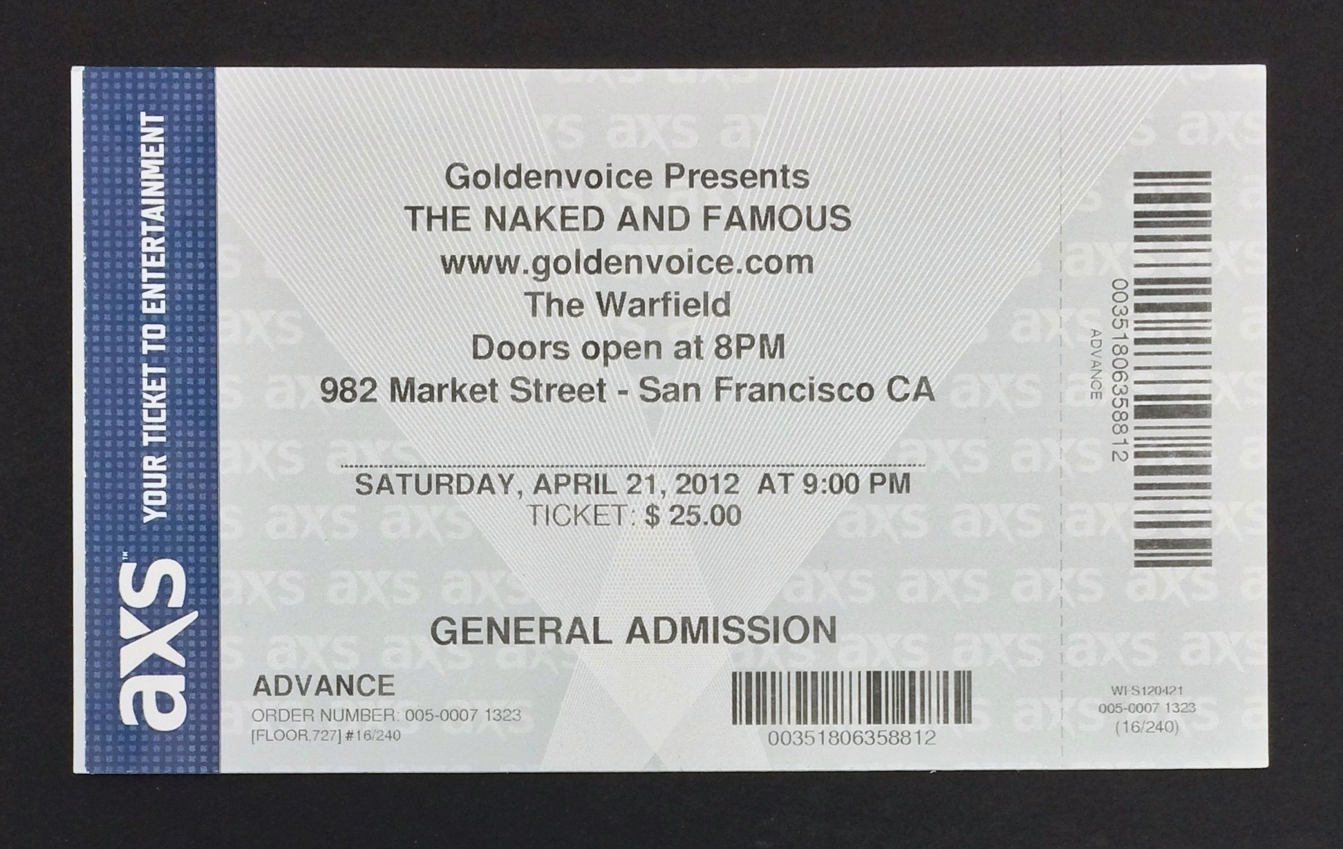 This ticket uses proportionally spaced fonts; no horrible kerning that you get from monospaced fonts. This was my first concert ticket, set in Helvetica.
