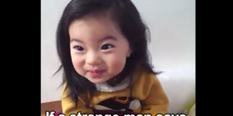Adorable Korean Girl Learns What To Say To Strangers If They Offer Her A Cookie