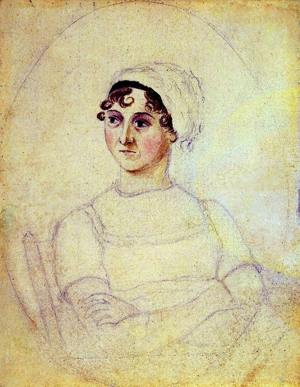 Portrait of Jane Austen in watercolor and pencil