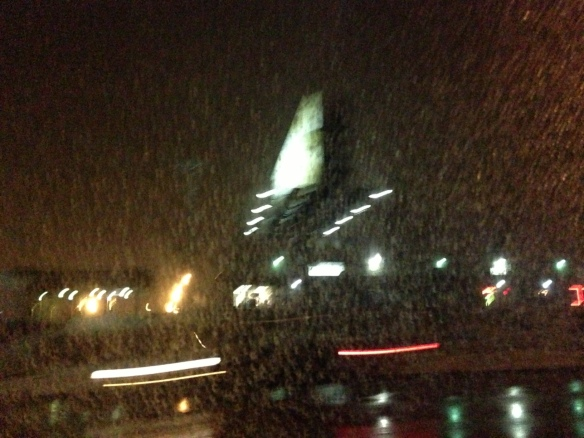Outside our cab, on a snowy Fargo night.