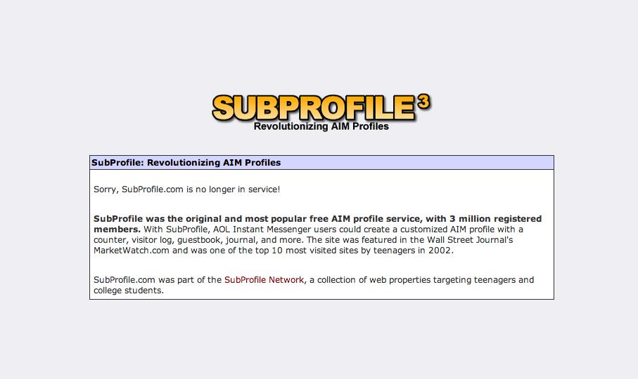 Subprofile.com [now defunct]