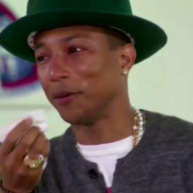 Watch Pharrell Happily Break Down Crying On Oprah's Show