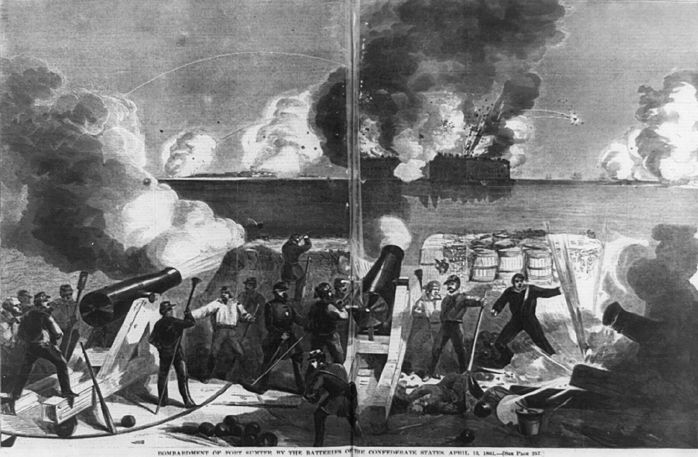 """Bombardment of Fort Sumter by the batteries of the Confederate states,"" 1861. Credit: Prints and Photographs Division, Library of Congress."