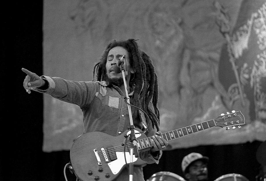 Bob Marley performing at Dalymount Park, on 6 July 1980. Credit: Eddie Malin
