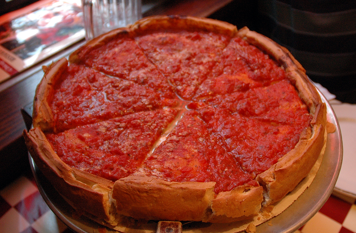 Chicago Style Pizza with a rich tomato topping. Credit: caribb