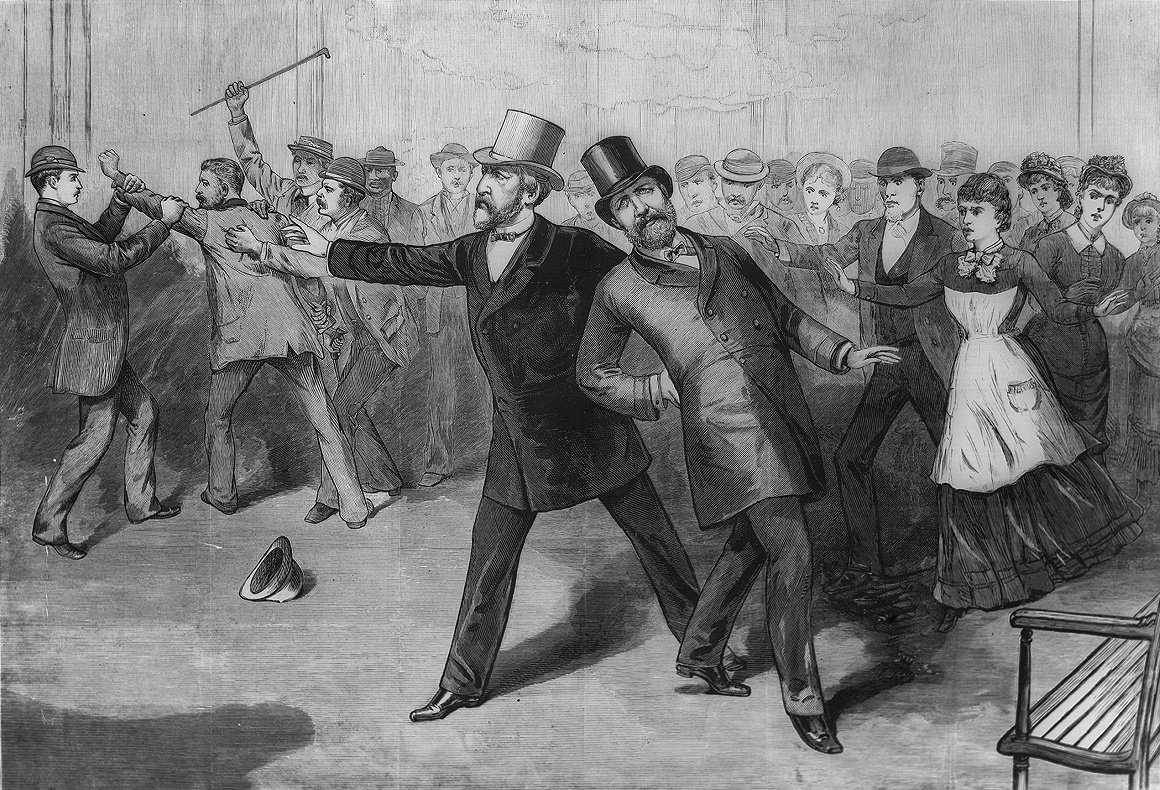 """An engraving of James A. Garfield's assassination, published in Frank Leslie's Illustrated Newspaper. The caption reads """"Washington, D.C.—The attack on the President's life—Scene in the ladies' room of the Baltimore and Ohio Railroad depot—The arrest of the assassin / from sketches by our special artist's [sic] A. Berghaus and C. Upham."""" President Garfield is at center right, leaning after being shot. He is supported by Secretary of State James G. Blaine who wears a light colored top hat. To left, assassin Charles Guiteau is restrained by members of the crowd, one of whom is about to strike him with a cane.  Credit: A. Berghaus and C. Upham, published in Frank Leslie's Illustrated Newspaper."""