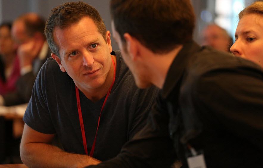 Hugh Howey speaks with a fellow delegate to Klopotek AG's Publishers' Forum in Berlin earlier this month. Photo: Klopotek AG