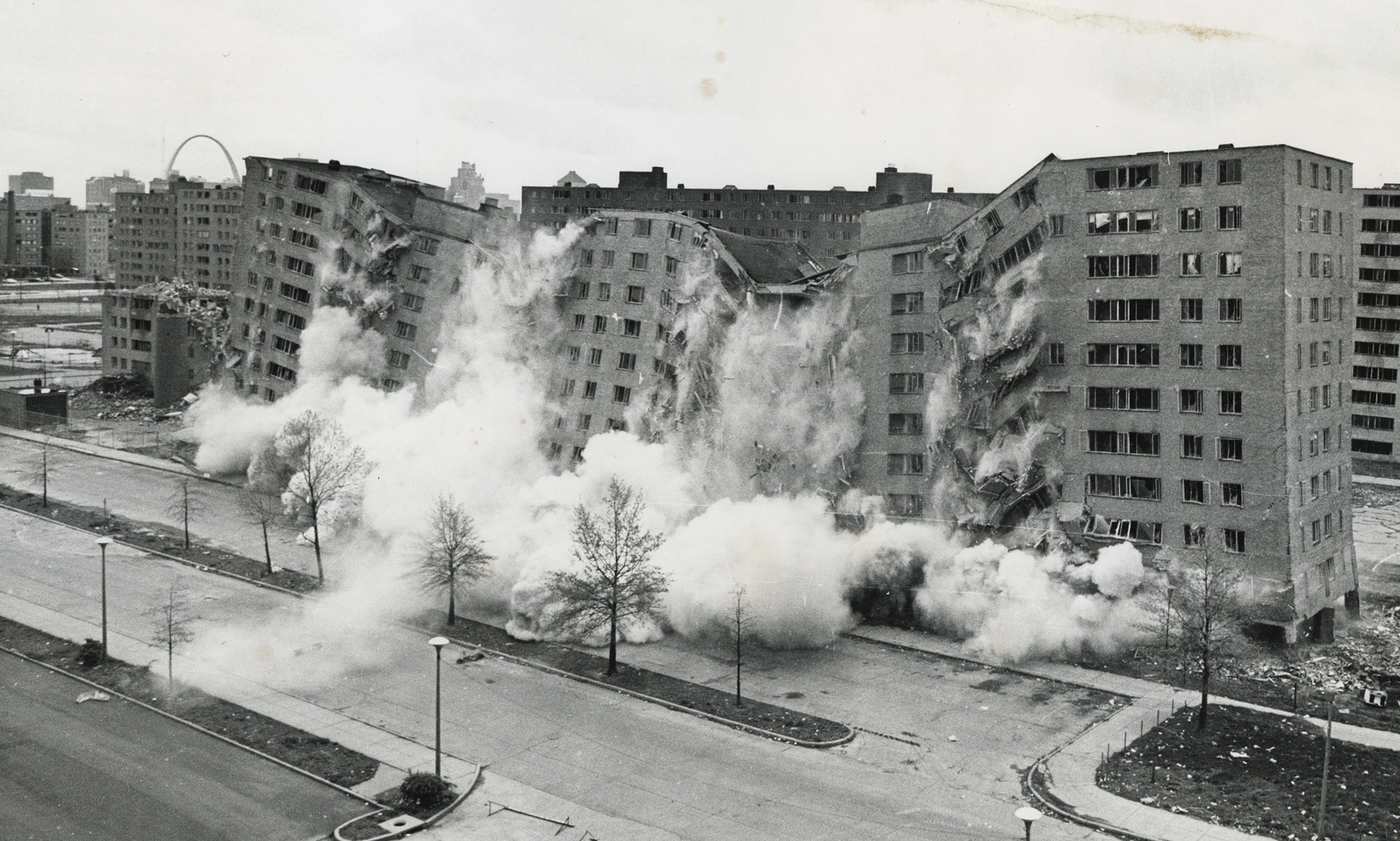 April 1972. The second, widely televised demolition of a Pruitt-Igoe building that followed the March 16 demolition