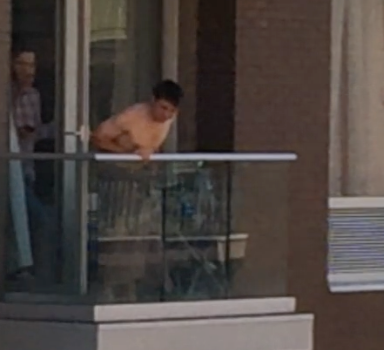 Almost Naked Privileged Idiot Harasses People From Balcony Of Williamsburg Condo