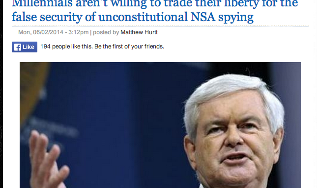 """Newt Gingrich: """"If Millennials Experience A 'Major Attack' They'll Love TheNSA"""""""