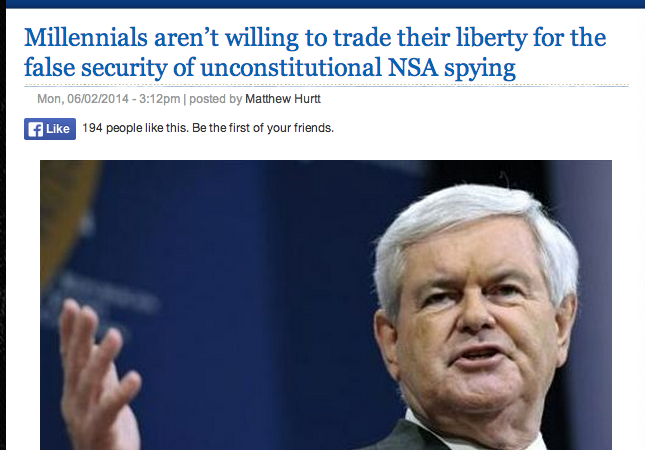 "Newt Gingrich: ""If Millennials Experience A 'Major Attack' They'll Love The NSA"""