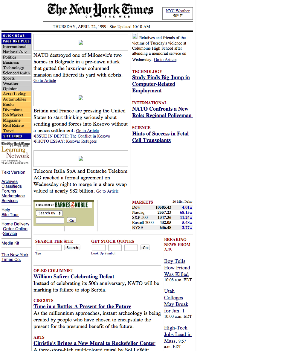 web.archive.org / NYTimes April 22, 1999