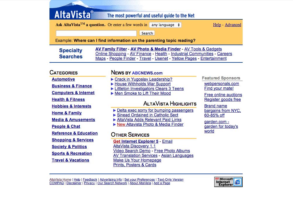 web.archive.org / Alta Vista