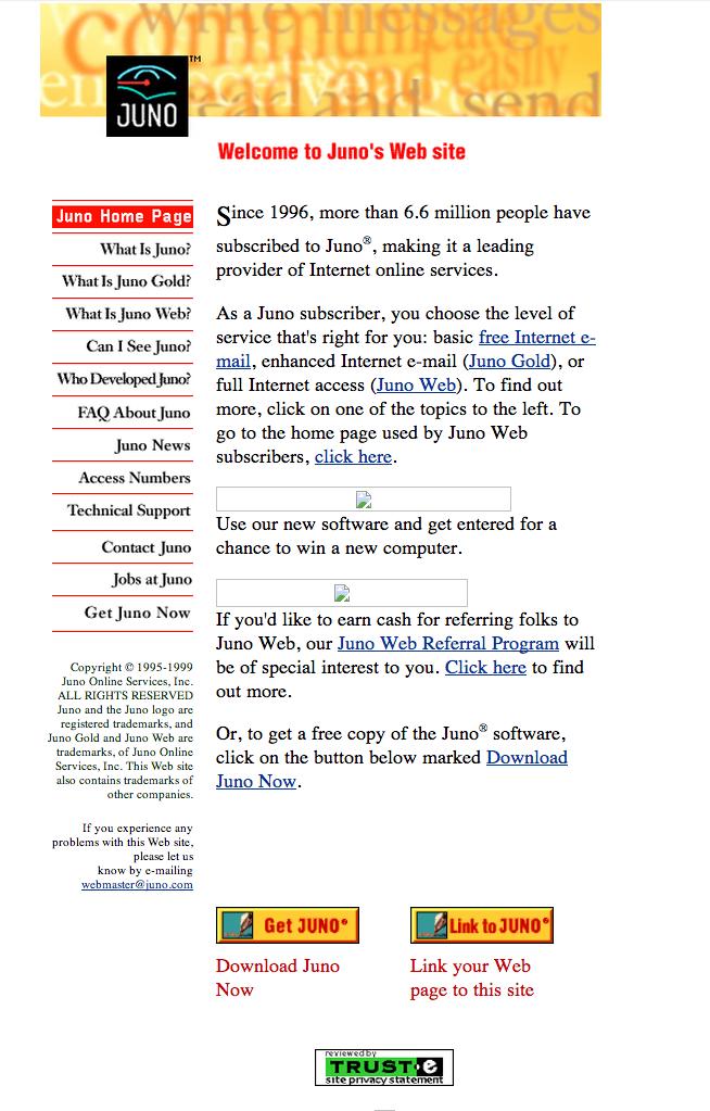 web.archive.org / Juno April 29, 1999