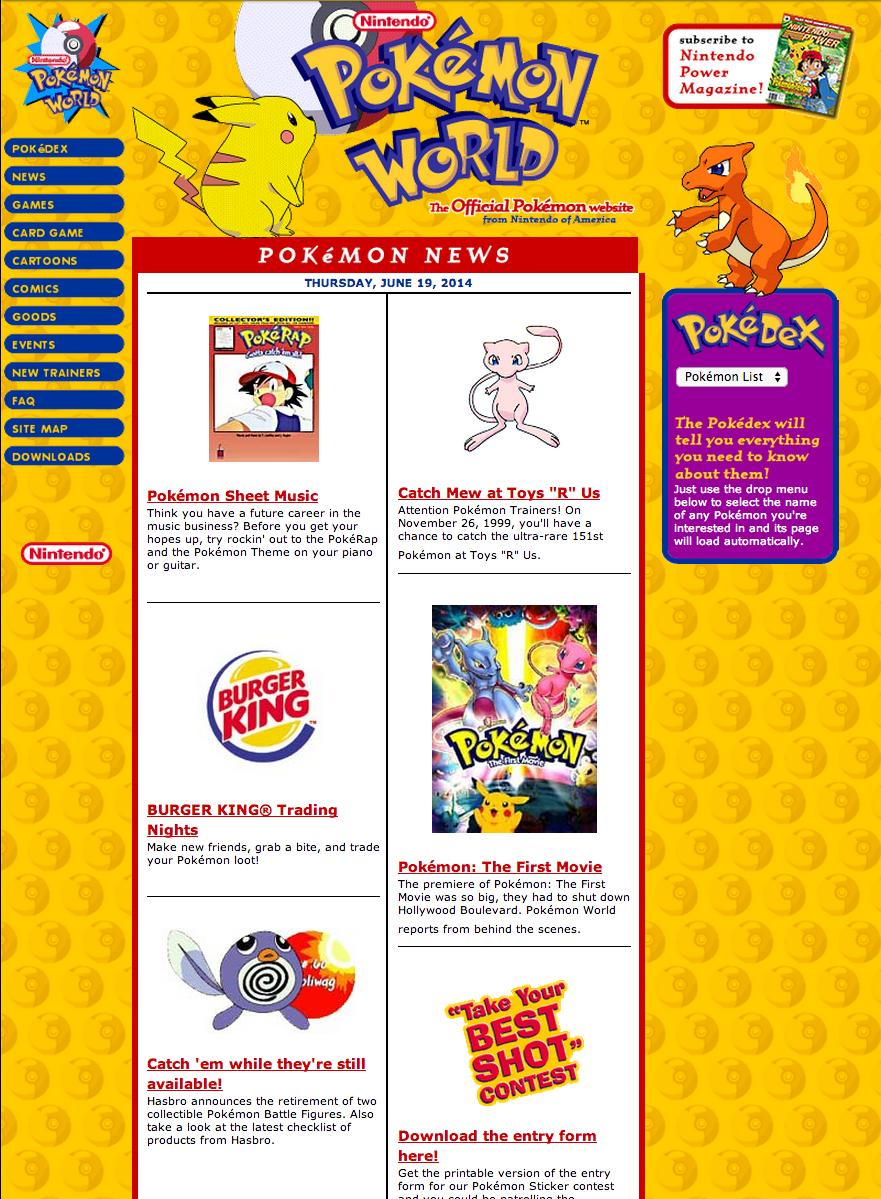 web.archive.org / Pokemon November 29, 1999