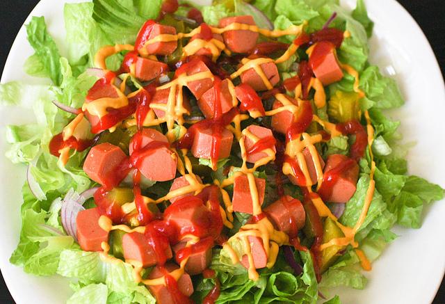 Hot Dog Salad via Carrie